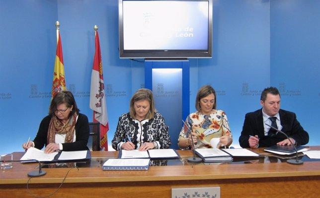 De izquierda a derecha Garrido, Del Olmo, Marcos y Sardón