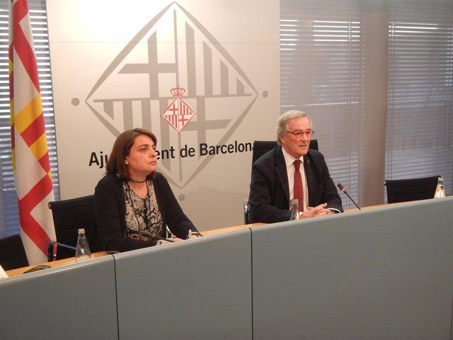 La teniente de alcalde de Economía, Sònia Recasens, y el alcalde, Xavier Trias