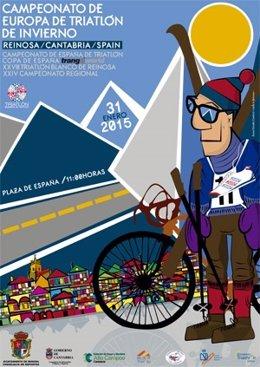 Cartel del Campeonato de Europa de Triatlon de Invierno