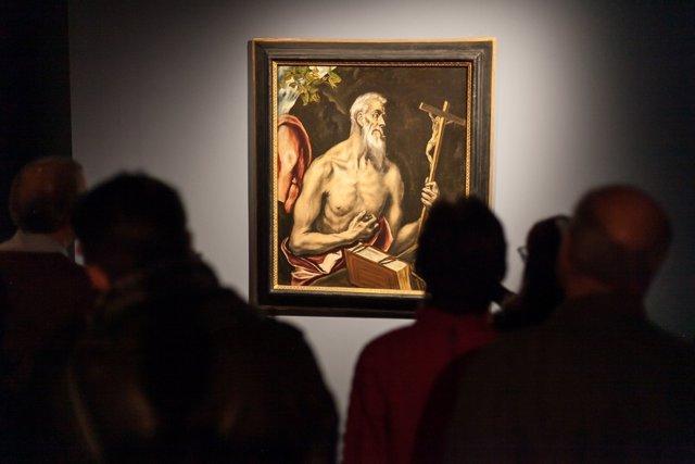 El publico en la Casa de Colon ante el San Jeronimo de El Greco