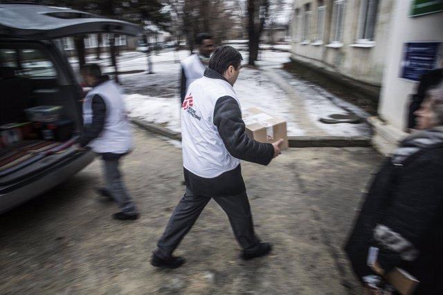 Reparto de ayuda de MSF en Donetsk (Ucrania)