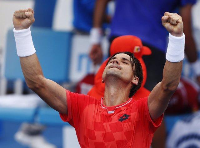David Ferrer celebra su victoria ante Bellucci