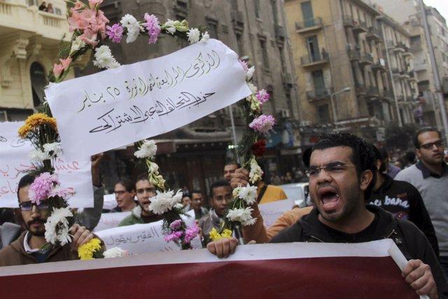Activistas del partido SPAP durante una protesta en El Cairo