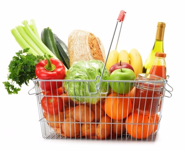 Cesta de la compra, fruta, verdura
