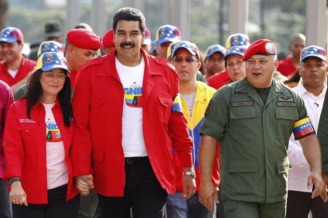 El presidente de Venezuela, Nicolás Maduro, y el del Congreso, Diosdado Cabello