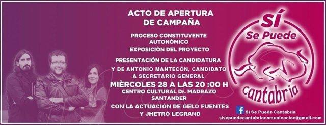 Cartel del acto de 'Sí se puede Cantabria'