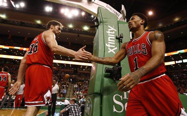 Pau Gasol Derrick Rose NBA Chicago Bulls Boston Celtics