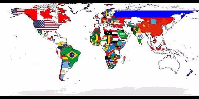 Mapamundi con las banderas del mundo
