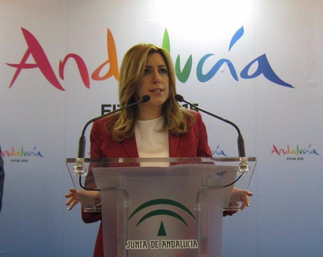 La presidenta de la Junta de Andalucía, Susana Díaz, en Fitur
