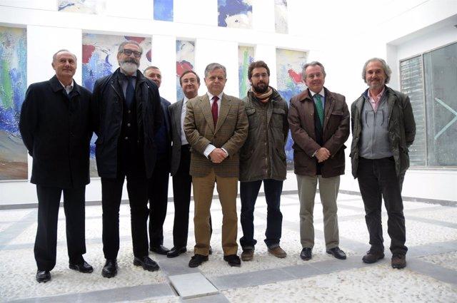 Fuentes (centro), con Pineda y Gutiérrez en el futuro Centro Botí
