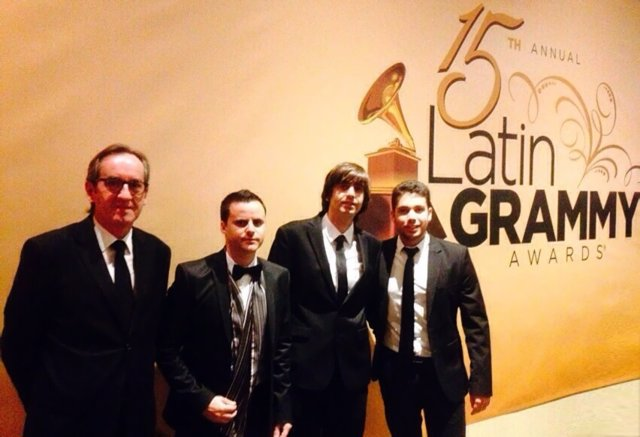 Juan Pinilla, Fernando Valverde, David Caro y Javier Bozalongo en los Grammy