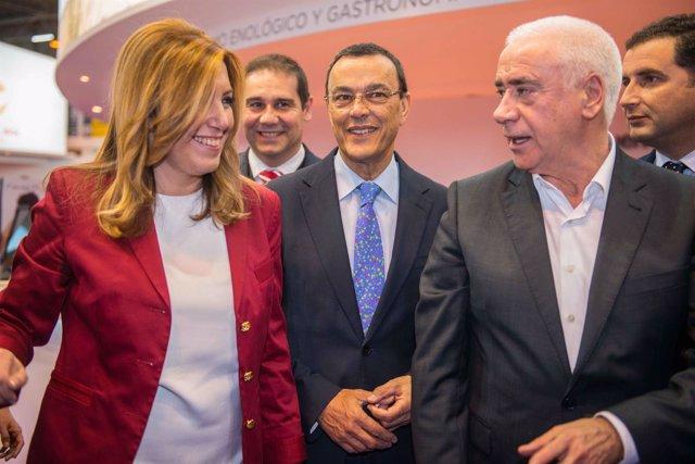 La presidenta de la Junta de Andalucía, Susana Díaz, e Ignacio Caraballo.