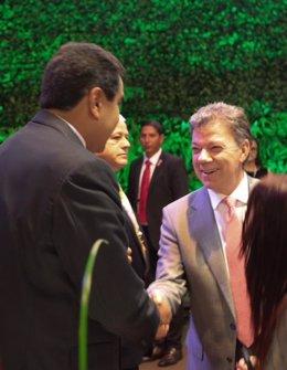 Los presidentes de Venezuela, Nicolás Maduro, y Colombia, Juan Manuel Santos