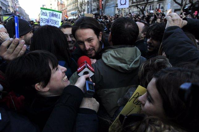 El secretario general de Podemos, Pablo Iglesias, en la  'Marcha por el Cambio'