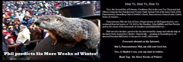 La marmota Phil predice que el invierno durará seis semanas más