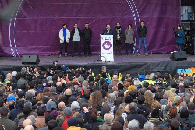 Pablo Iglesias ofrece un discurso en la Puerta del Sol