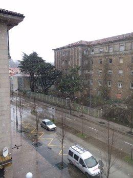 Nieva en Santiago.