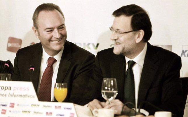 Alberto Fabra y Mariano Rajoy en los desayunos de Europa Press.