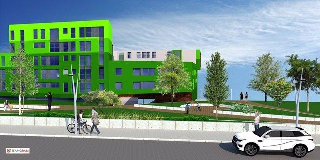 Infografía del futuro de la parcela de Tabacalera vista desde calle Alta