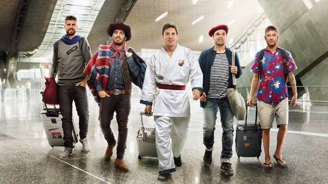 Piqué, Suárez, Messi, Iniesta y Neymar en el anuncio de Qatar Arways