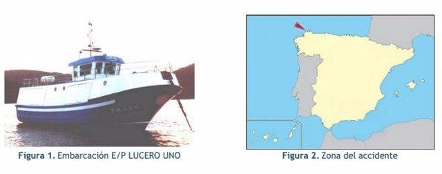 Imagen del 'Lucero Uno' y lugar del accidente