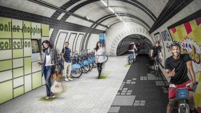 Metro de Londres, recreación con ciclistas en túneles abandonados