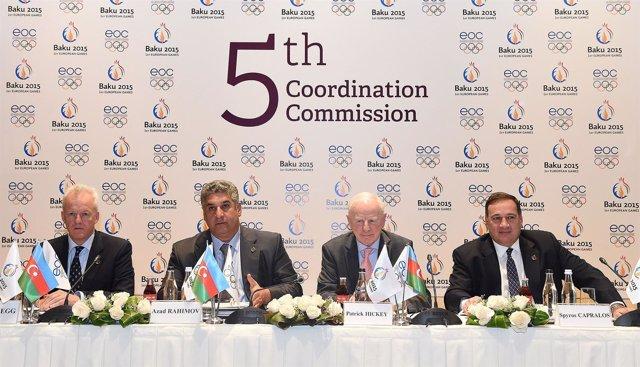 La comisión de visita del EOC a Bakú 2015, sede de los Juegos Europeos