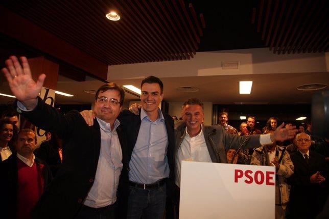 Vara, Pedro Sánchez y José Luis Quintana