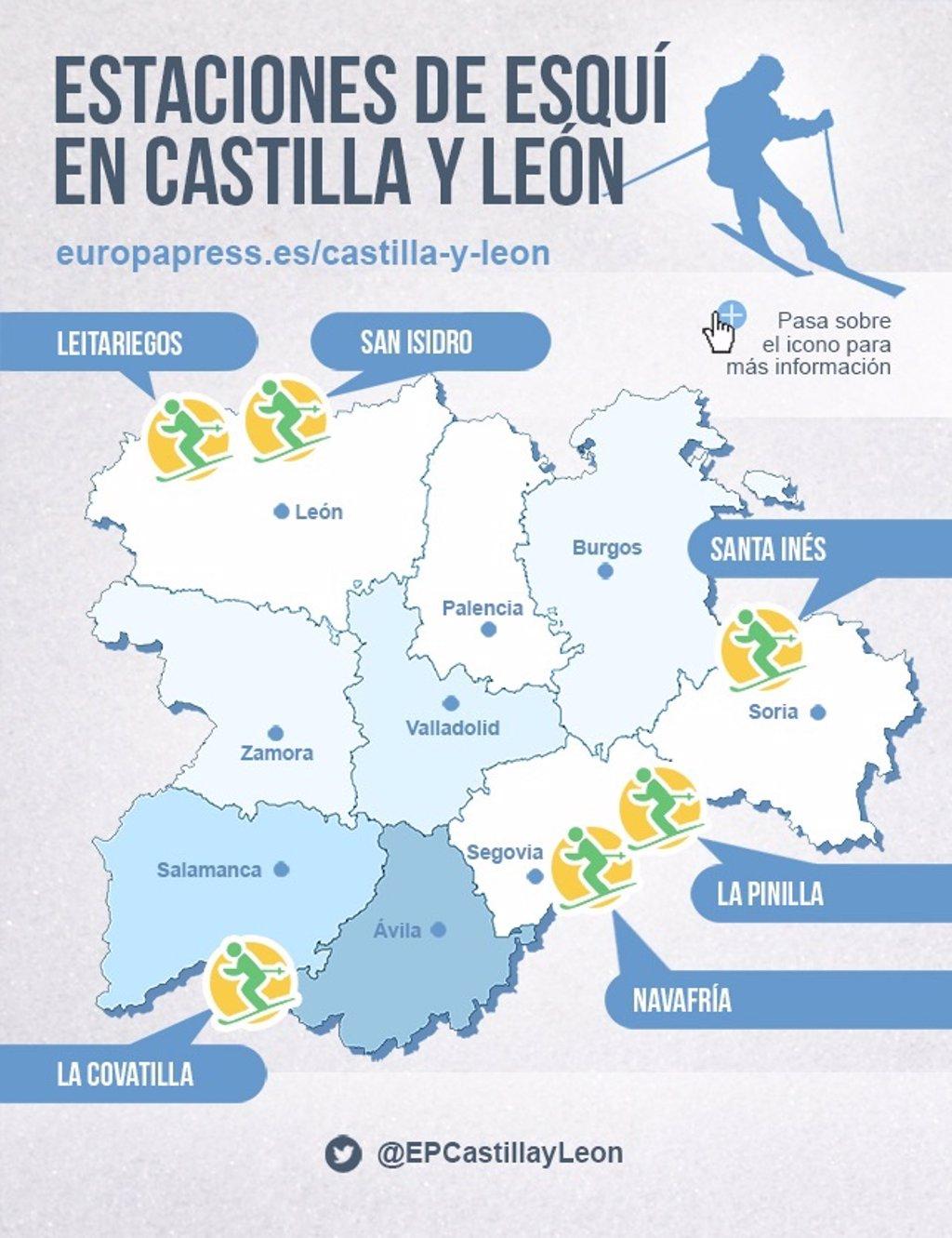 Estaciones De Esqui Mapa.Mapa De Las Estaciones De Esqui En Castilla Y Leon