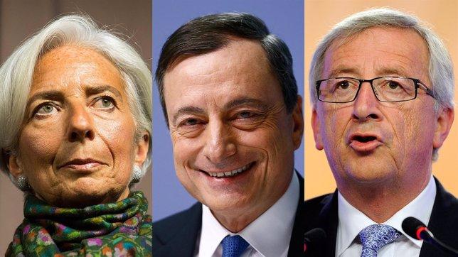 Montaje de Lagarde, Draghi y Junker