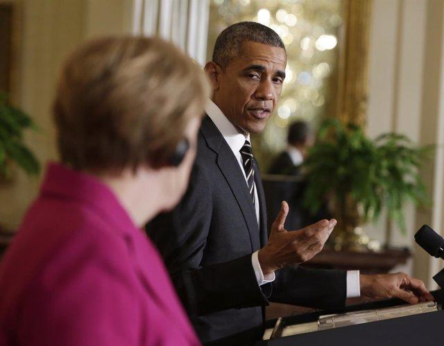 El presidente de EEUU, Barack Obama, y la canciller alemana, Angela Merkel