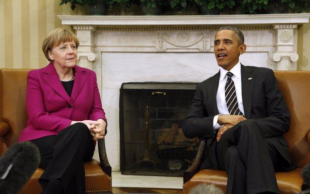 Obama recibe a Merkel en la Casa Blanca