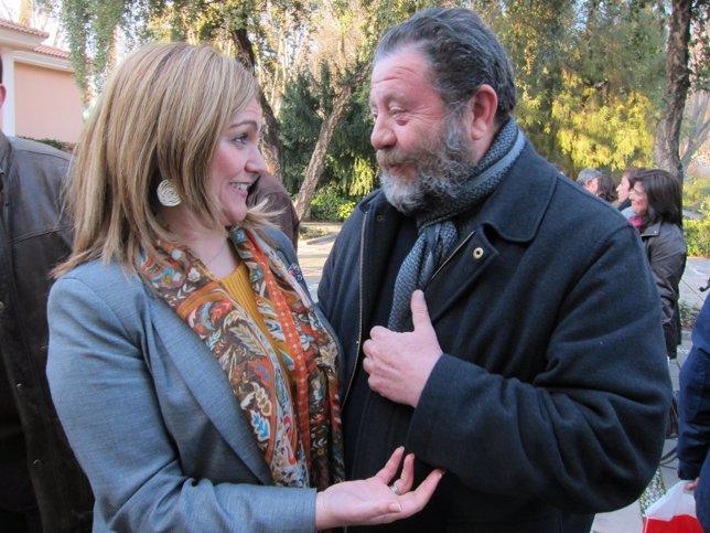 Serrano y Sánchez Villaverde hablan antes del Comité Provincial