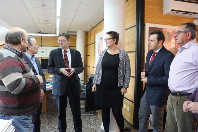 Puig y Torres con representantes de UGT, CCOO y Aerte