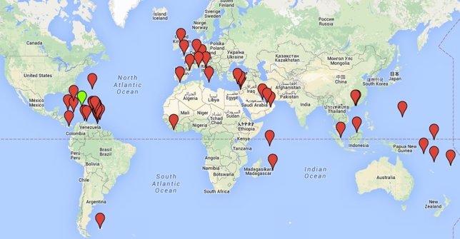 Paraísos fiscales por el mundo en Google Maps
