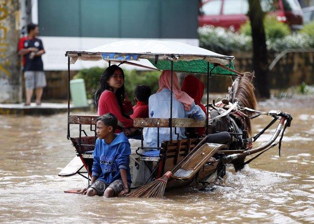 Inundaciones en Jakarta, indonesia