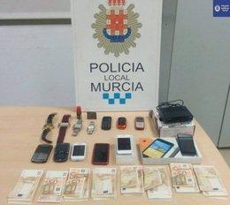 Efectos intervenidos de la Policía Local de Murcia