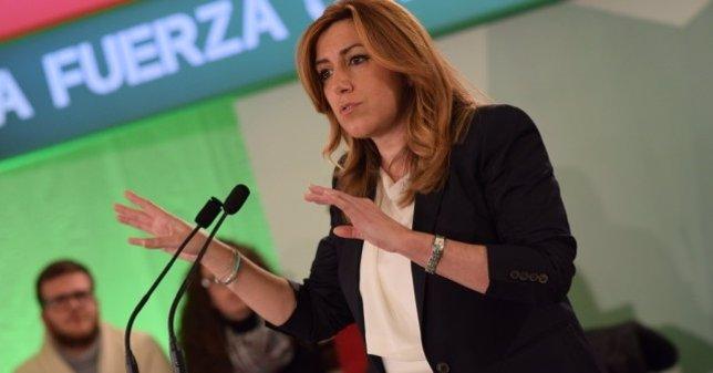 La secretaria general del PSOE-A, SUsana Díaz, en un mitin