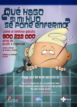 Cartel del teléfono de atención de urgencias pediátricas
