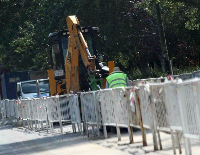 Obreros, obras, excavadora, calle, trabajador, trabajando, construcción