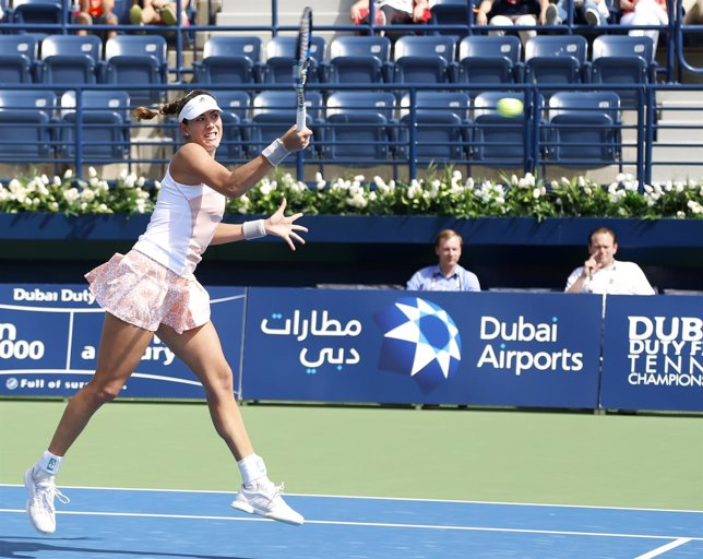 Garbiñe Muguruza en el torneo de Dubai