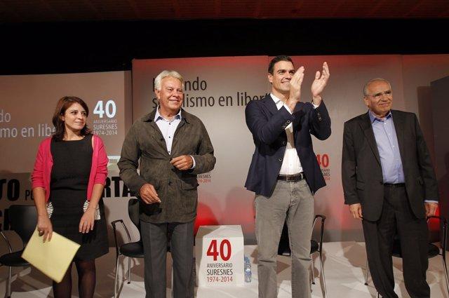 Felipe González, Alfonso Guerra y Pedro Sánchez