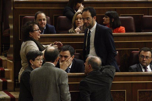 Pedro Sánchez y Antonio Hernando en el Grupo del PSOE en el Congreso