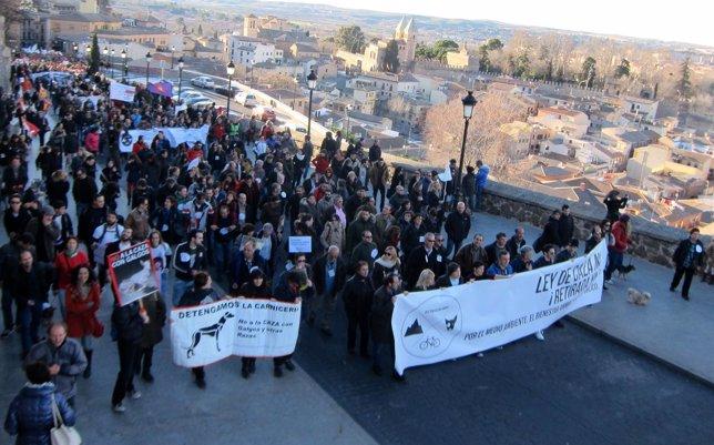 Manifestación contra Ley de Caza