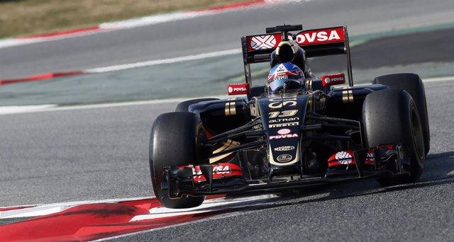 Pastor Maldonado en las pruebas de pretemporada de Montmeló