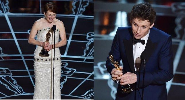 Julianne Moore y  Eddie Redmayne Oscar a los mejores actores