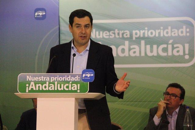 El presidente del PP-A y candidato a la Junta de Andalucía, Juanma Moreno.
