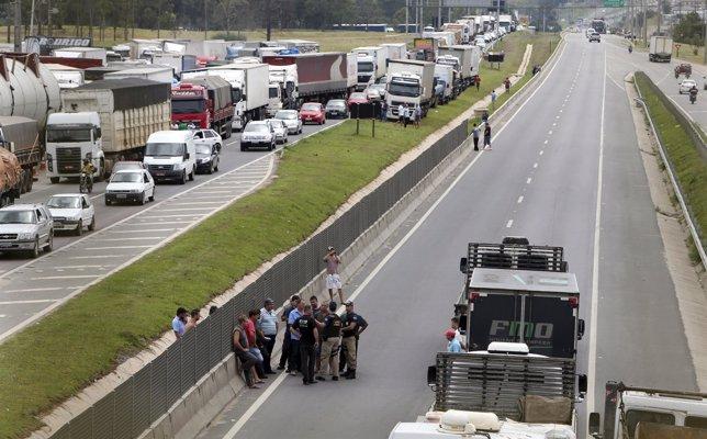 Protesta de camioneros en Brasil