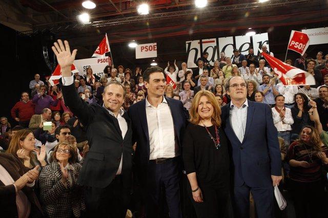 Pedro Sánchez con Ángel Gabilondo y Antonio Miguel Carmona