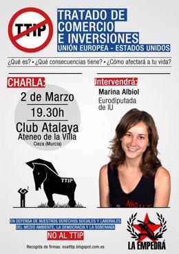 La eurodiputada Marina Albiol impartirá una conferencia sobre el TTIP este lunes